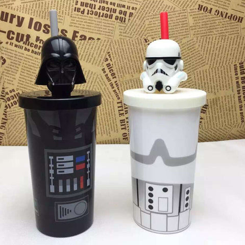 Star War White Black Knight Water Coffee Straw Mug