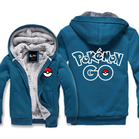 New Pokemon go Hoodie Cartoon Anime Pocket Monster Poke Ball Hooded Winter cotton Coats Jackets Men Cardigan Sweatshirt