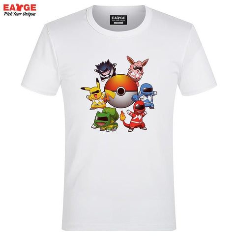 Power Rangers Pokemon T Shirt Parody Anime Game Design T-shirt Cool Novelty Funny Tshirt Style Men Women Printed Fashion Top Tee