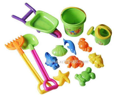 New Arrival Baby Kids Sandy beach Toy Set 13PCs Dredging tool Beach Bucket Sunglass Baby playing with sand water toys