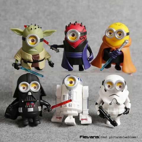 Minion Cos Star Wars Yoda Darth Maul Darth Vader R2-D2 Stormtrooper Obi-Wan PVC Action Figures Toys 6pcs/set DSFG330