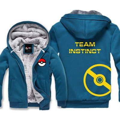 P01 New Pokemon go Hoodie Cartoon Anime Pocket Monster Team Hooded Winter cotton Coats Jackets Men Cardigan Sweatshirt