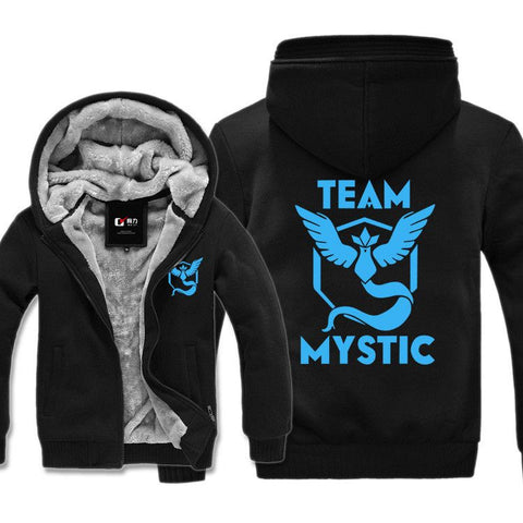 New Pokemon go Hoodie Cartoon Anime Pocket Monster MYSTIC Team Hooded Winter cotton Coats Jackets Men Cardigan Sweatshirt