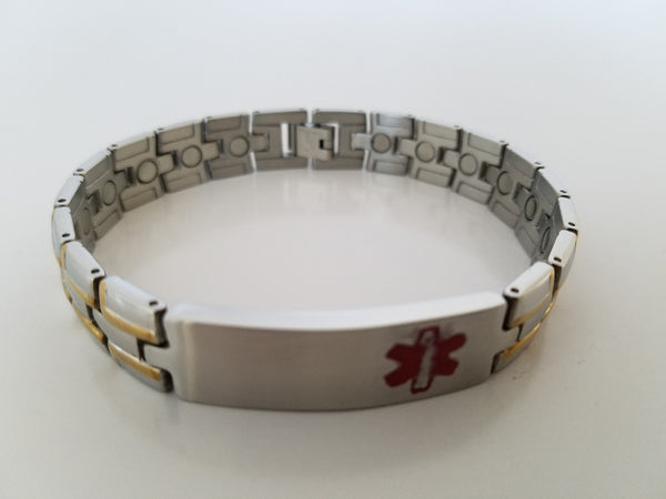 "Men's Stainless Steel ""Medical Alert"" Magnetic Bracelets"