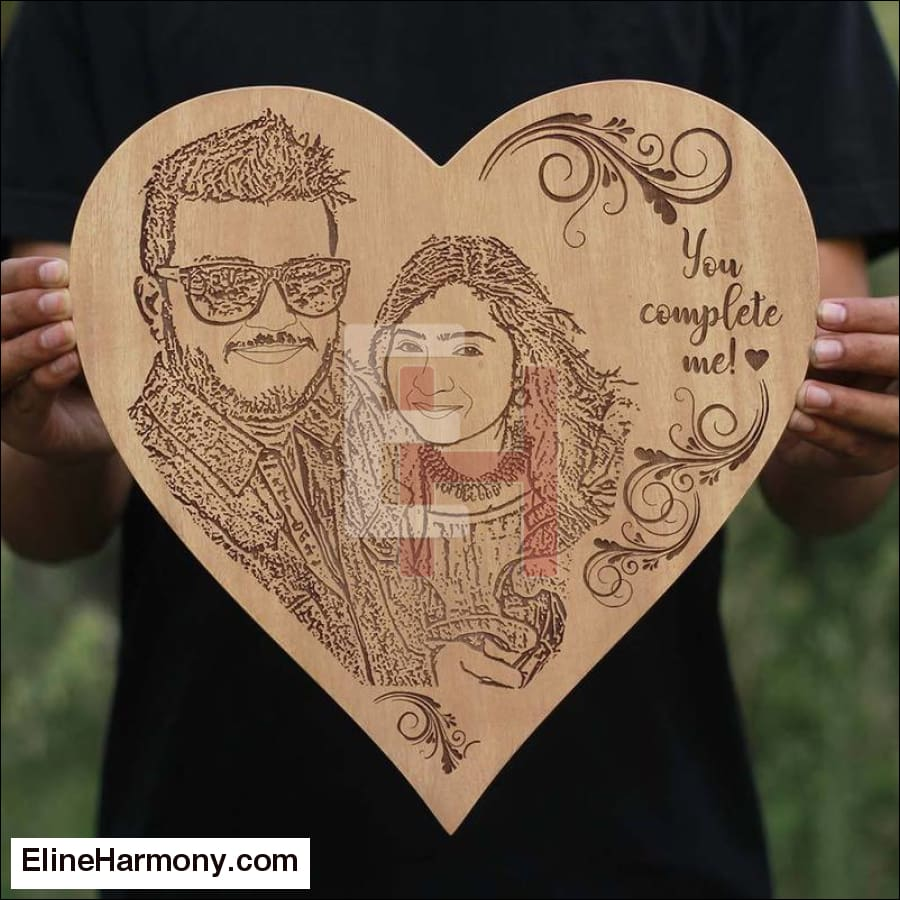You Complete Me Custom Engraved Wooden Frame Eline Harmony