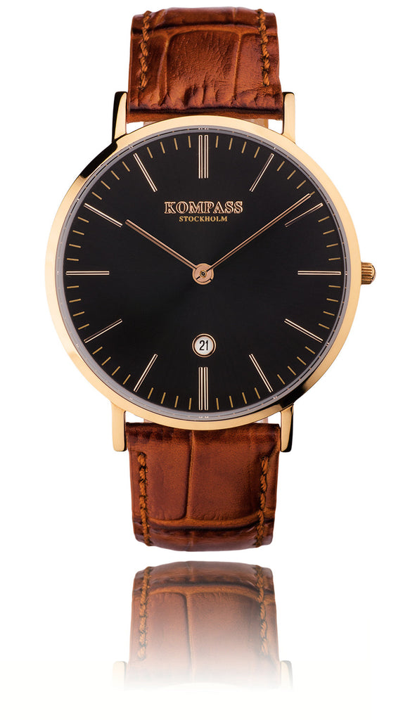 KOMPASS NAUTILUS ROSE GOLD BLACK DIAL BROWN STRAP