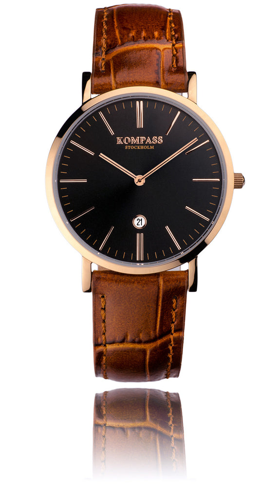 KOMPASS NAUTILUS LADIES ROSE GOLD BLACK DIAL BROWN STRAP