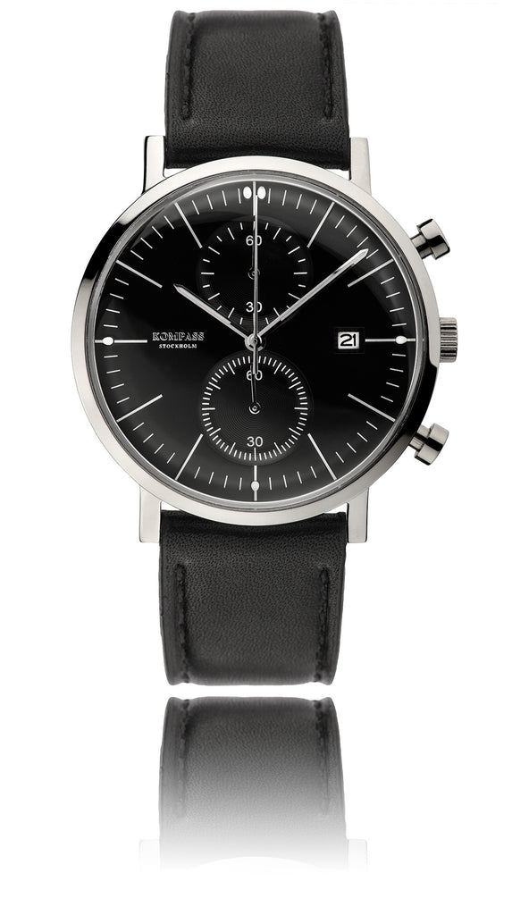 KOMPASS SUPER DOME BLACK DIAL BLACK STRAP