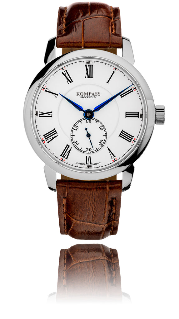 KOMPASS GRAND MASTER RHODIUM WHITE DIAL BROWN STRAP