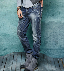 Straight Distressed Jeans - Young Men's Clothing CO.
