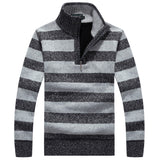 Half Turtle Neck Striped Sweater - Young Men's Clothing CO.