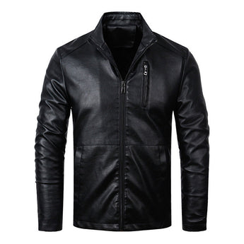 Slim Fit Spring Leather Jacket - Young Men's Clothing CO.