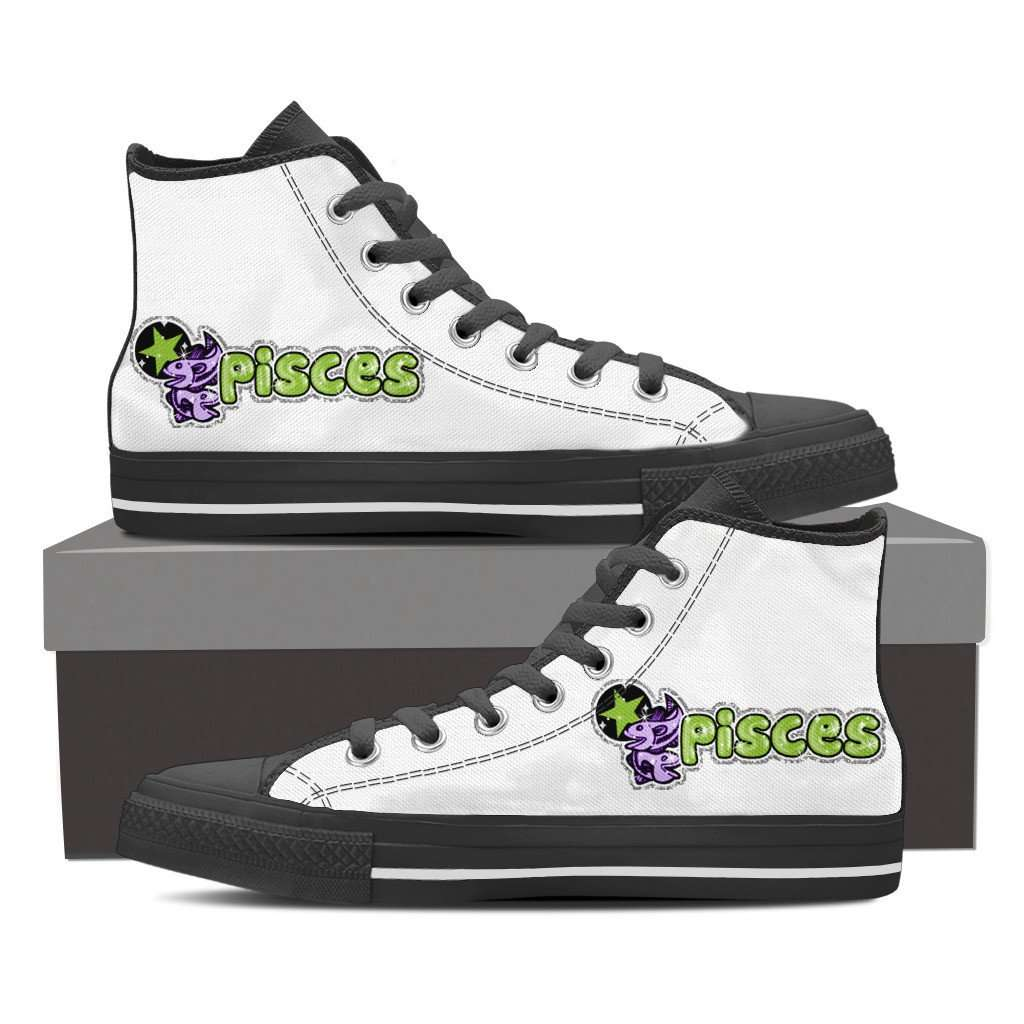 Black Pisces High Top Canvas Shoe