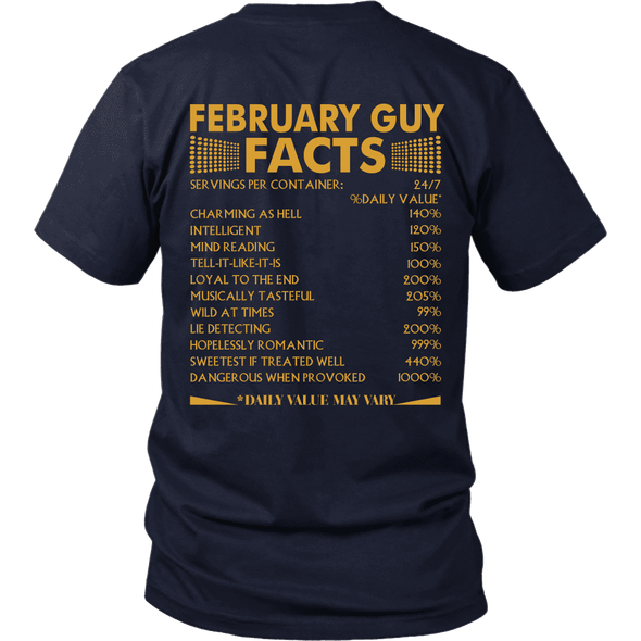 Limited Edition ***February Guy Facts Back Print*** Shirts & Hoodies