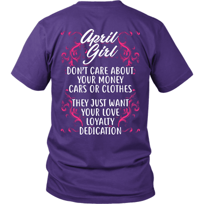 Limited Edition ***April Girl Don't Care About Money Back Print*** Shirts & Hoodies