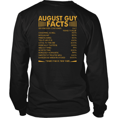 Limited Edition ***August Guy Facts Back Print*** Shirts & Hoodies