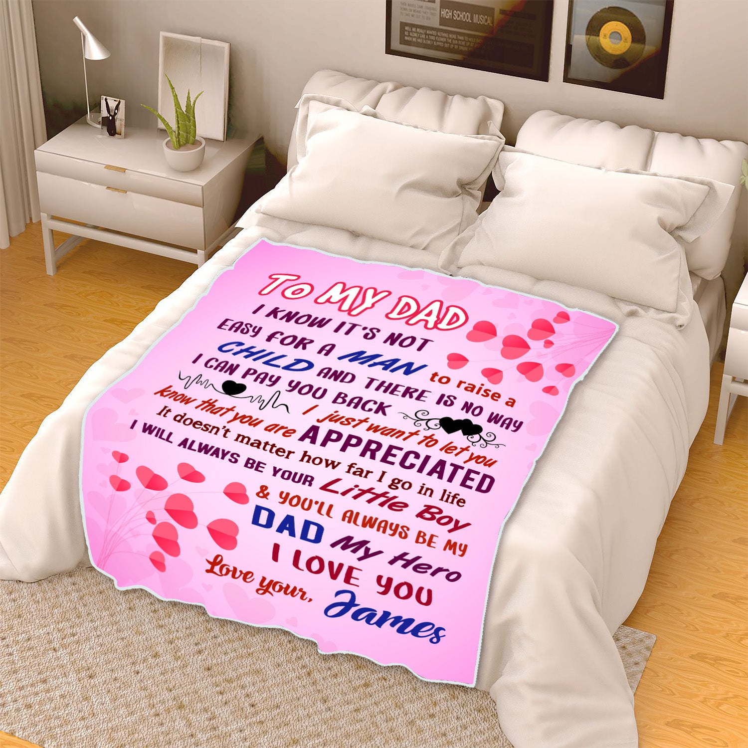 """To My Dad You Are Appreciated""- Personalized Blanket"