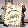 Personalized Postcard Message Blanket For Grandma/Mom/Grandpa/Papa - Customized With Your Nick (Mom, Mimi, Gigi etc.) & Grand Kids/Kids Names