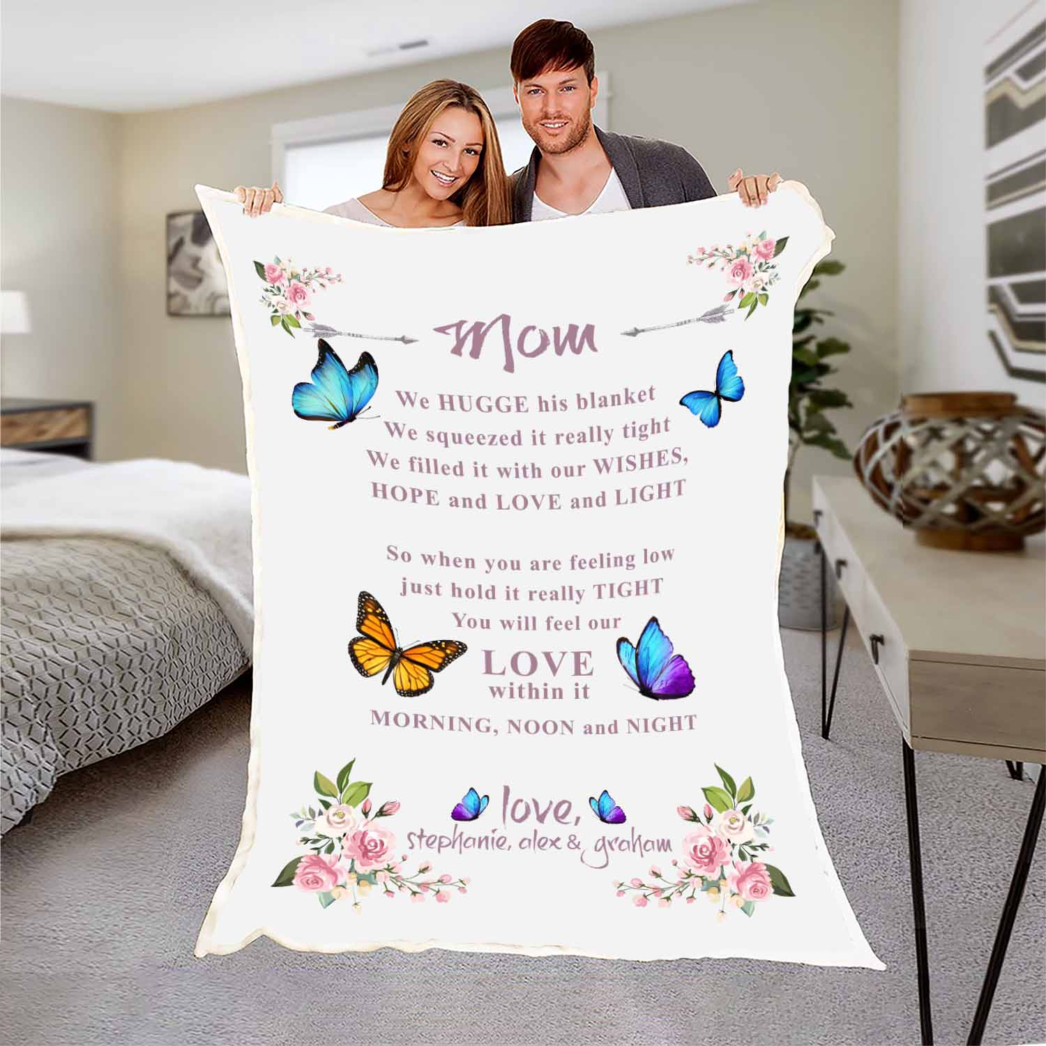 """You Will Feel Our Love"" Customized Blanket For Grandma/Grandpa/Mamma/Papa/Auntie"