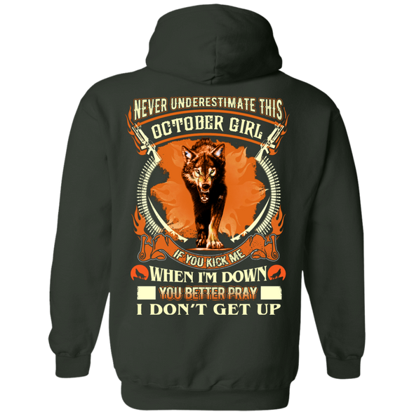 **Never Underestimate October Born Girl** Back Print Shirt & Hoodies