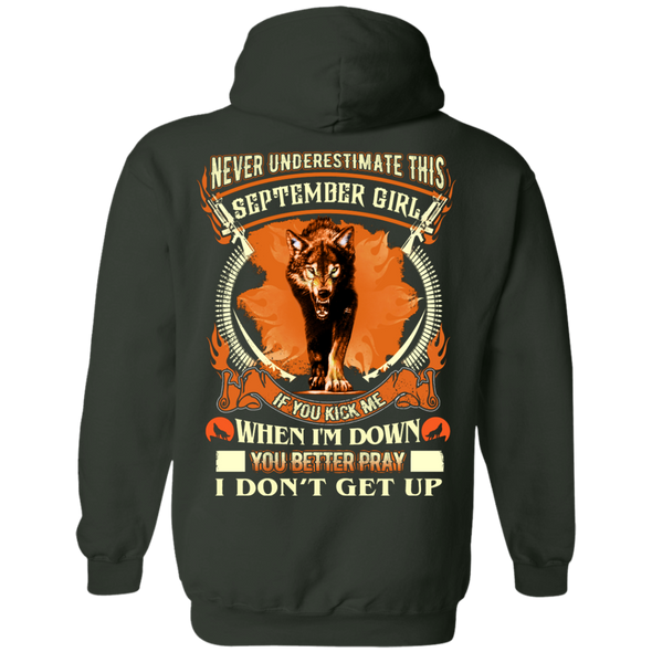 **Never Underestimate September Born Girl** Back Print Shirt & Hoodies