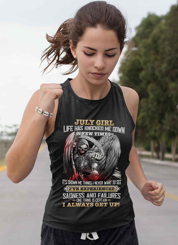 Skull Print **July Born Girl Always Get Up** Shirts & Hoodies