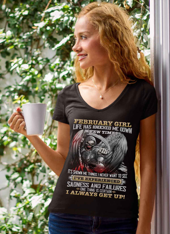 Skull Print **February Born Girl Always Get Up** Shirts & Hoodies