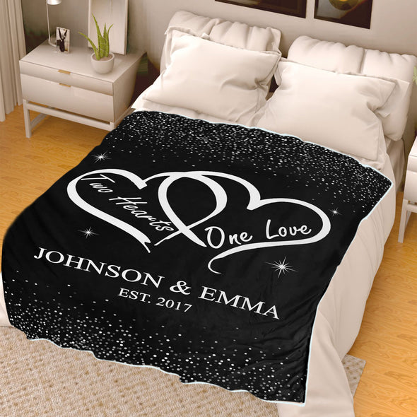 Two Hearts One Love Personalized Blanket For Couple