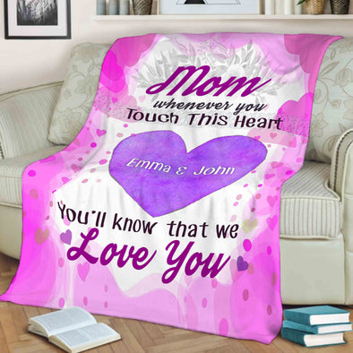 Personalized Blanket For Grandma/Mom/Grandpa/Papa - Customized With Your Nick (Mom, Mimi, Gigi etc.) & Grand Kids/Kids Names