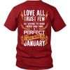 Limited Edition ***Love All Trust Few January Back Print*** Shirts & Hoodies