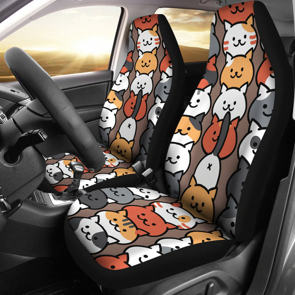 Funny Cat Faces Car Seat Cover