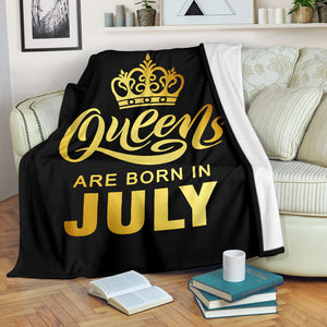 Queens Are Born In July Gold Printed Premium Blankets
