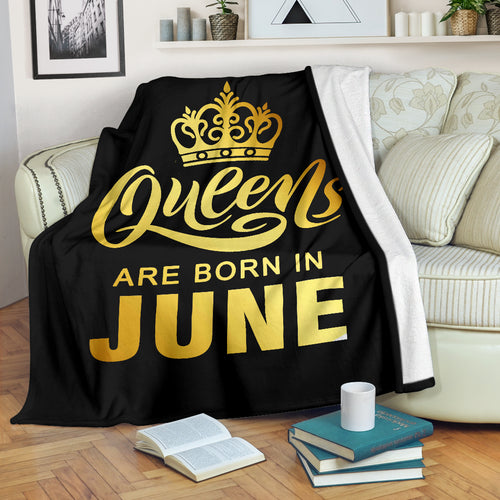Queens Are Born In June Gold Printed Premium Blankets