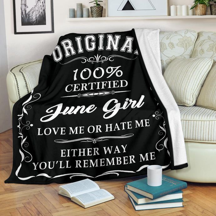 100% Certified June Born Girl Premium Blanket