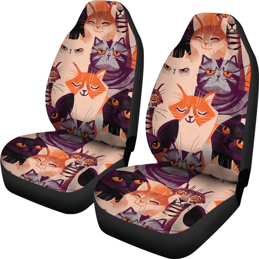 Animated Cat Car Seat Cover