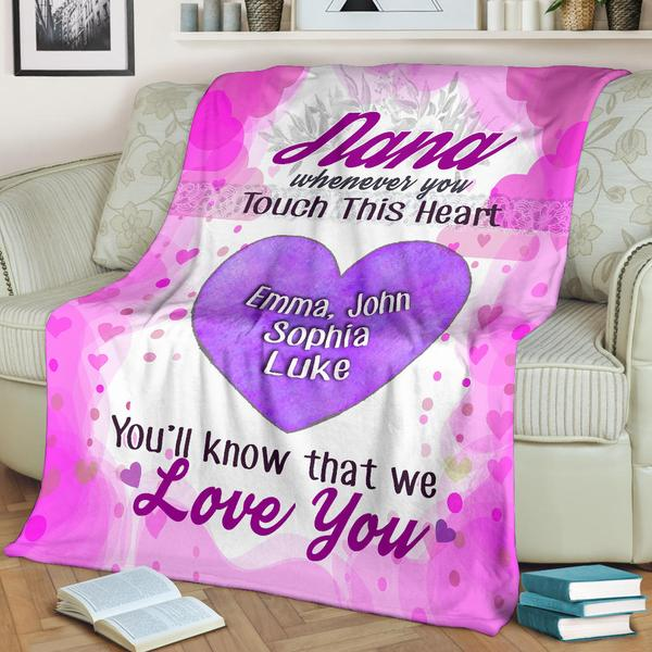 "Personalized ""Whenever You Touch This Heart"" Blanket"