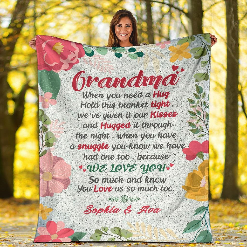 Personalized Grandma/Nana/Papa Blanket Love From Grandkids/Kids