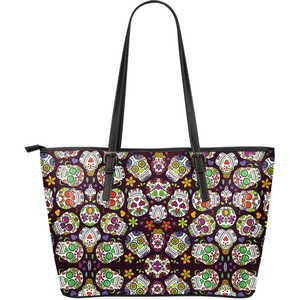 Awesome Sugar Skulls - Large Leather Tote Bag