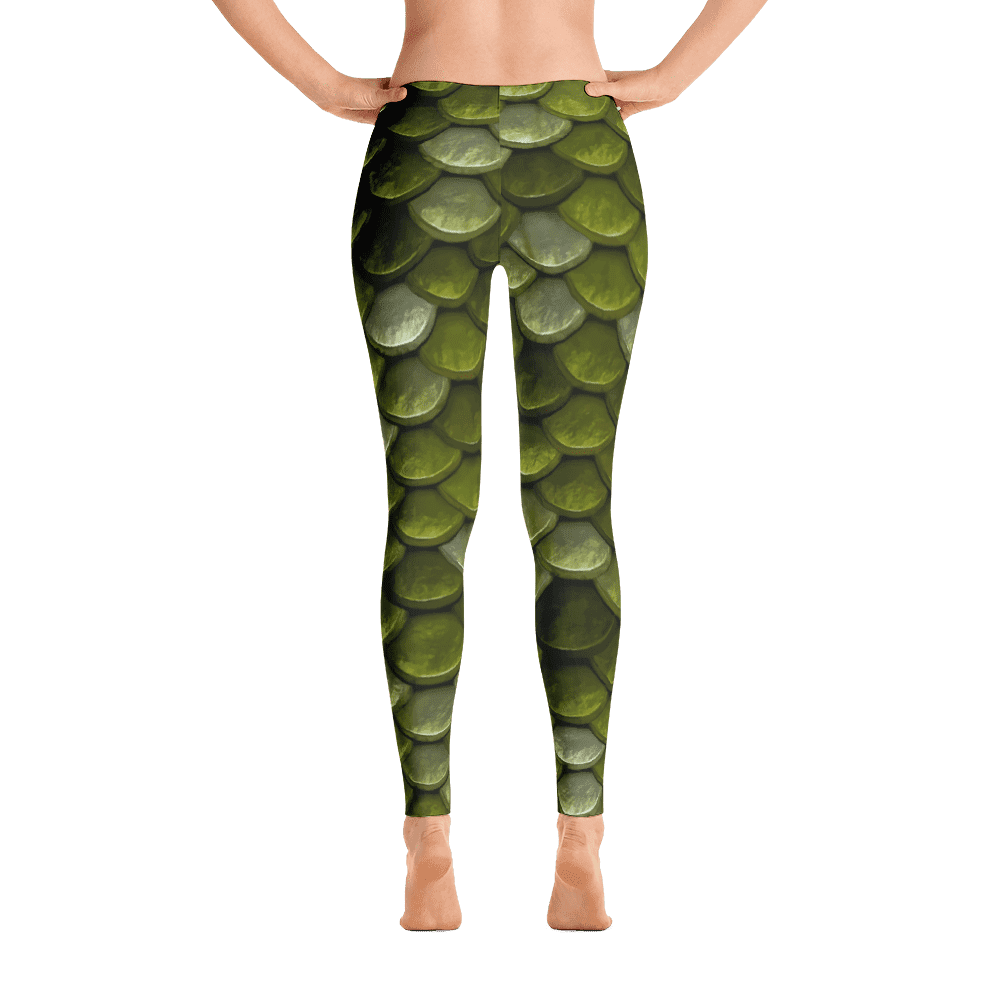 Limited Edition Forest Green Fish Scale Printed Leggings