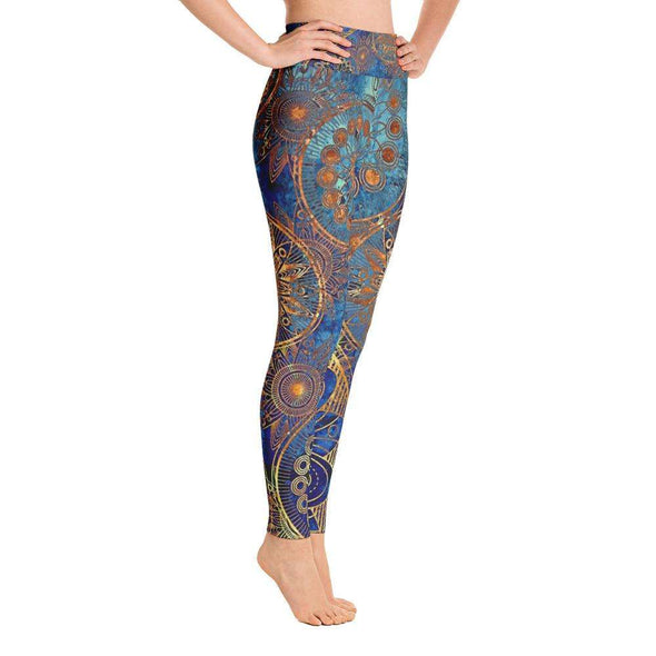 Blue Print Over All Yoga Leggings