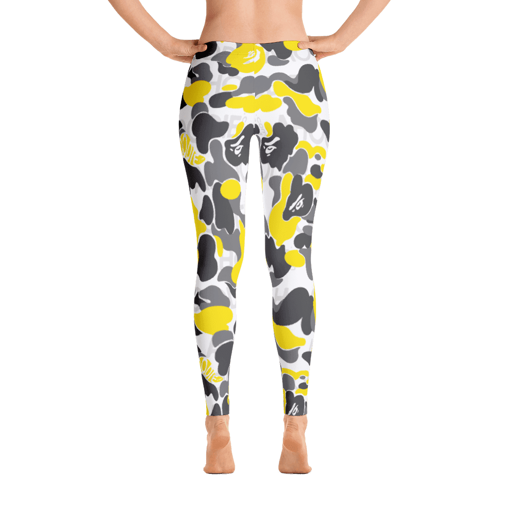 Limited Edition Yellow Black Camouflage Printed Leggings