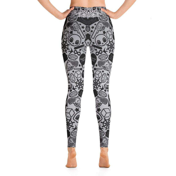Grey Skull Printed Yoga Leggings