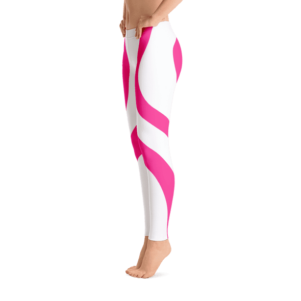 Pink Heart White Over All Printed Leggings