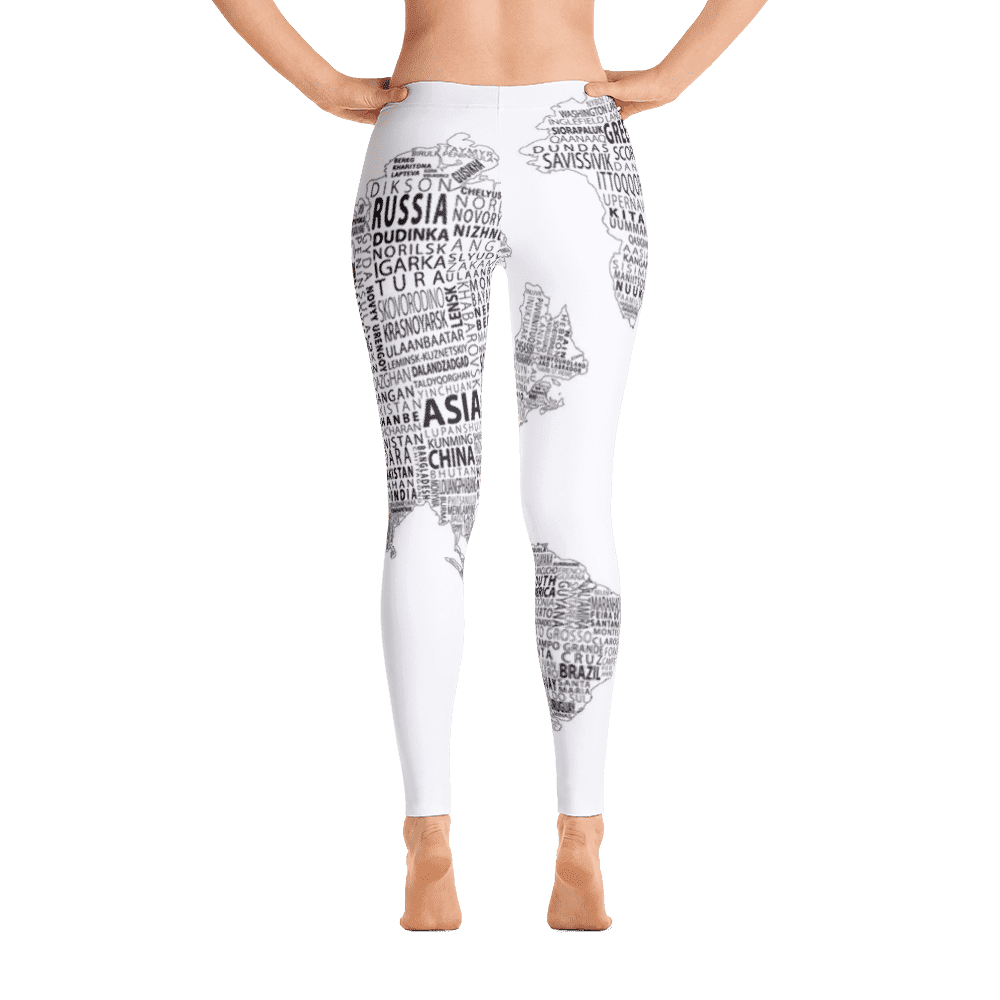 Limited Edition World Map Black & White Printed Leggings