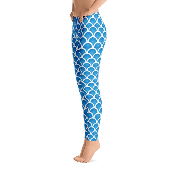 Limited Edition Blue Fish Scale Printed Leggings