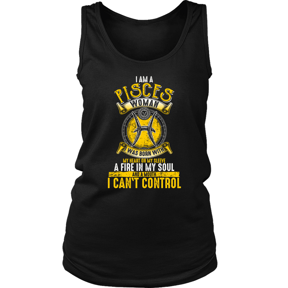 I Am A Pisces Woman Shirt Yellow Print, Hoodie & Tank