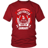 Never Underestimate January Born Firefighter Shirt, Hoodie & Tank