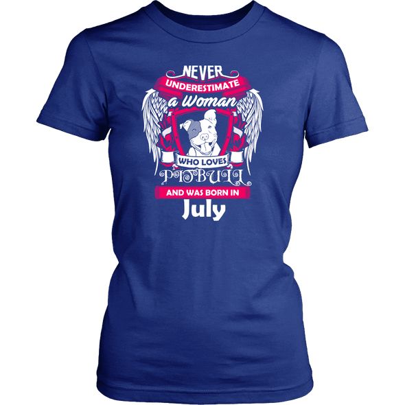 July Women Who Loves Pitbull Shirt, Hoodie & Tank