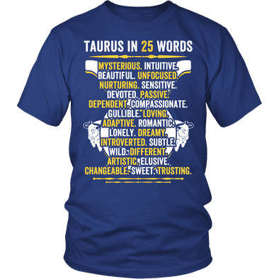 Describe Taurus In 25 Words Shirt, Taurus Shirt, Hoodie & Tank