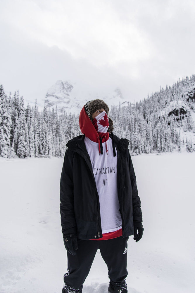 Max Zedler Adventure Guru in Canadian AF White Tshirt from Campton Clothing Co.